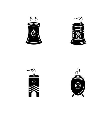 Water evaporators black glyph icons set on white space. Air humidifiers, climate control household appliances, premises humidity level regulators. Silhouette symbols. Vector isolated illustration