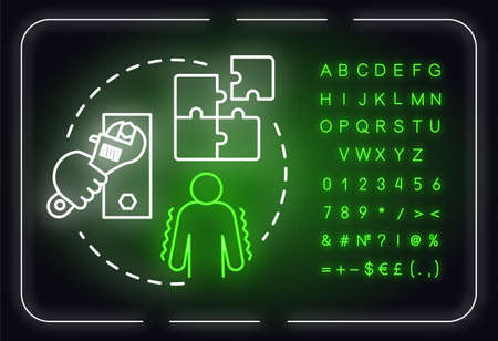 Shore up weaknesses neon light concept icon. Minimize threat. SWOT strategy. Self-building idea. Outer glowing sign with alphabet, numbers and symbols. Vector isolated RGB color illustration