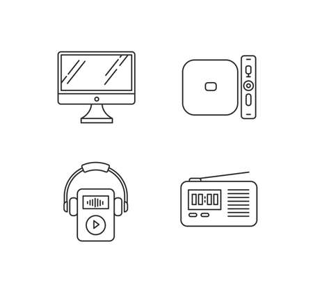 Mobile devices pixel perfect linear icons set. Desktop computer, MP3 music player. Media player. Customizable thin line contour symbols. Isolated vector outline illustrations. Editable stroke