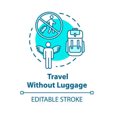 Travel without luggage concept icon. Budget tourism, no baggage fee expenses idea thin line illustration. Light trip without suitcase. Vector isolated outline RGB color drawing. Editable stroke Ilustração