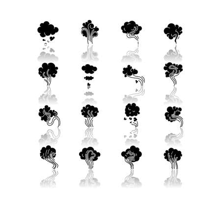 Odor drop shadow black glyph icons set. Emission and evaporation. Smell from hookah. Aroma from cannabis. Cigarette stream. Stink and fog. Isolated vector illustrations on white space Иллюстрация