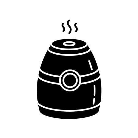 Steam humidifier black glyph icon. Portable air purifier, oil diffuser. Electrical appliance, humidity regulation equipment. Silhouette symbol on white space. Vector isolated illustration