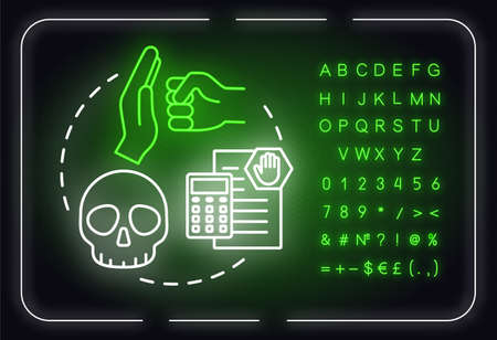 Manage threats neon light concept icon. Self-building and development. Technology issue idea. Outer glowing sign with alphabet, numbers and symbols. Vector isolated RGB color illustration