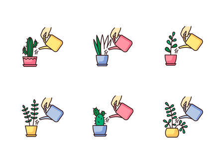 Houseplant care RGB color icons set. Indoor gardening process. Domestic plant cultivation. Watering domestic plants. Moisturizing, rehydrating soil. Moistening ground. Isolated vector illustrations Ilustração