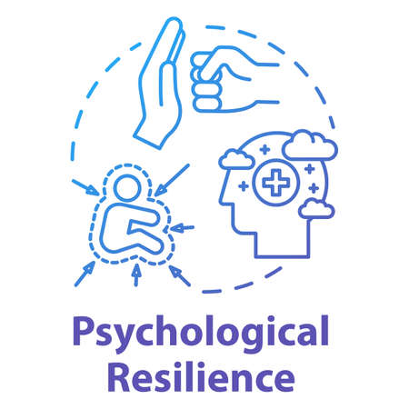 Psychological resilience concept icon. Stress protection. Ability to emotionally cope with crisis. Mental health idea thin line illustration. Vector isolated outline RGB color drawing