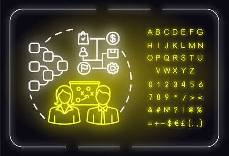 Strategy map neon light concept icon. Strategy model for project. Business planning idea. Outer glowing sign with alphabet, numbers and symbols. Vector isolated RGB color illustration