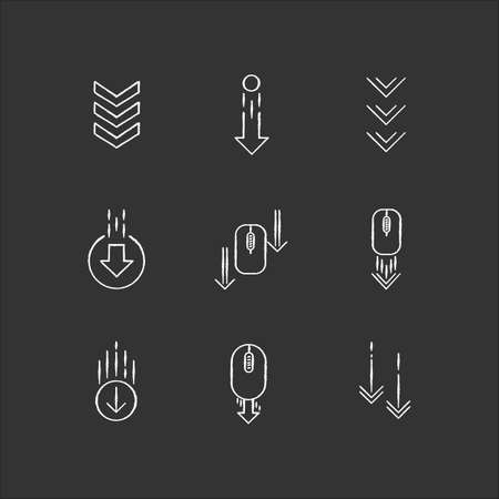 Scrolling down arrows chalk white icons set on black background. Computer mouse and arrowheads in circles buttons. Download indicator. Web cursor. PC elements. Isolated vector chalkboard illustrations