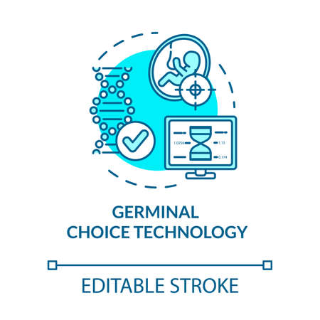 Germinal choice technology turquoise concept icon.Laboratory research. Screening procedure. Reproductive tech idea thin line illustration. Vector isolated outline RGB color drawing. Editable stroke