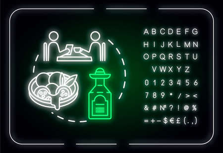Non touristy restaurants neon light concept icon. Inexpensive lunch, affordable dinner idea. Outer glowing sign with alphabet, numbers and symbols. Vector isolated RGB color illustration Çizim