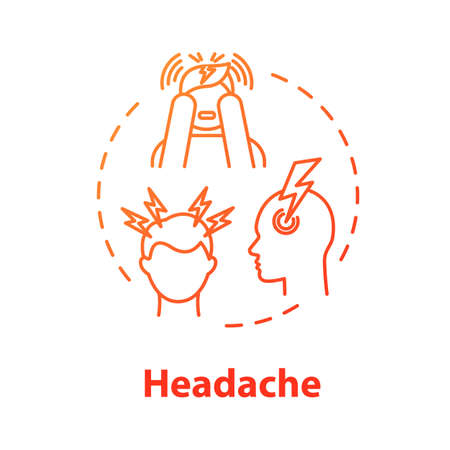 Headache concept icon. Anxiety sign. Flu infection. Migraine pain. Stress tension. Hangover, allergy. Cold symptom idea thin line illustration. Vector isolated outline RGB color drawing Stock Illustratie