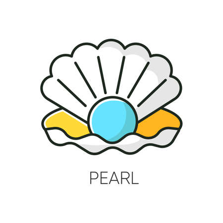 Pearl RGB color icon. Open seashell. Brightening effect. Component to prevent aging. Expensive oyster. Ocean scallop. Luxury product. Cosmetic ingredient. Isolated vector illustration
