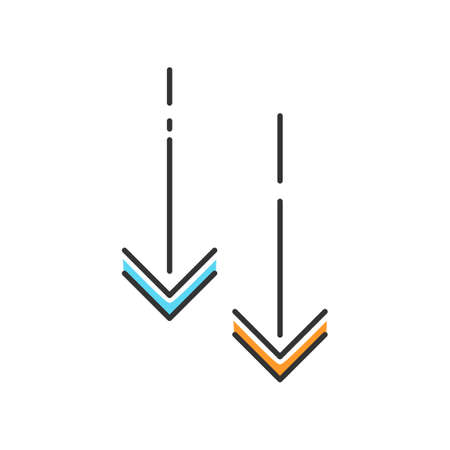 Moving down arrowheads blue and orange RGB color icon. Page browsing vertical direction. Scroll down arrows, website pointer. Scrolldown application menu interface cursor. Isolated vector illustration Ilustração