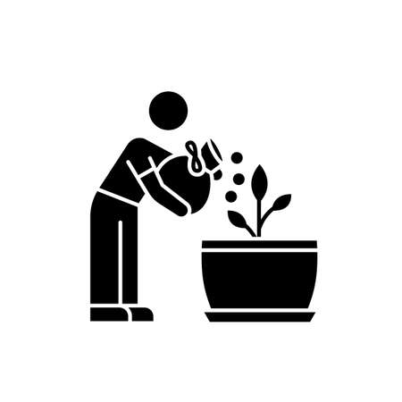 Fertilizing seedling black glyph icon. Feeding sapling. Plant growing, planting. Indoor gardening. Growth supplements, amendments. Silhouette symbol on white space. Vector isolated illustration