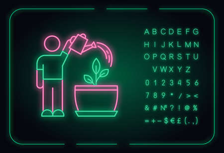 Watering sapling neon light icon. Moisturizing, rehydrating potting soil. Moistening plants. Outer glowing effect. Sign with alphabet, numbers and symbols. Vector isolated RGB color illustration