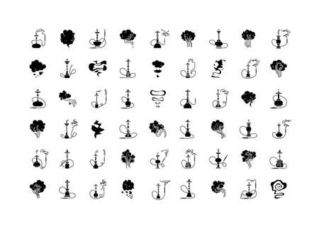 Hookah bar black glyph icons set on white space. Sheesha house. Nargile lounge. Odor from pipe. Scent of vaporizing. Smoking area. Fragrance emblem.Silhouette symbols. Vector isolated illustration