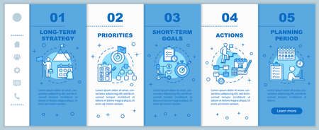 Strategy for business onboarding vector template. Priorities and actions. Corporate management. Responsive mobile website with icons. Webpage walkthrough step screens. RGB color concept