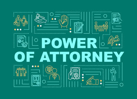 Power of attorney word concepts banner. Legal representative. Officil confirmation. Infographics with linear icons on green background. Isolated typography. Vector outline RGB color illustration