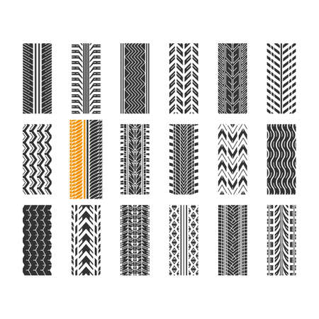 Tire tread black glyph icons set on white space. Detailed automobile, motorcycle, bike tyre marks. Car summer and winter wheel trace. Tire trail. Silhouette symbols. Vector isolated illustration