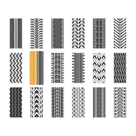 Reifenprofil schwarze Glyphensymbole auf weißem Raum. Detaillierte Auto-, Motorrad-, Fahrradreifenspuren. Auto Sommer- und Winterradspur. Reifenspur. Silhouette-Symbole. Isolierte Vektorgrafik