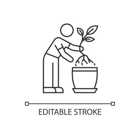 Replanting pixel perfect linear icon. caring. Transplanting, repotting. Changing planter. Thin line customizable illustration. Contour symbol. Vector isolated outline drawing. Editable stroke