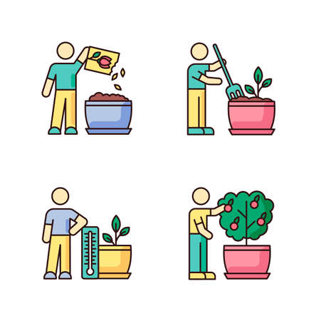 Indoor gardening process RGB color icons set. Houseplant caring. Plant cultivation. Planting seed, propagating. Fluffing, plowing soil. Regulating temperature conditions. Isolated vector illustrations