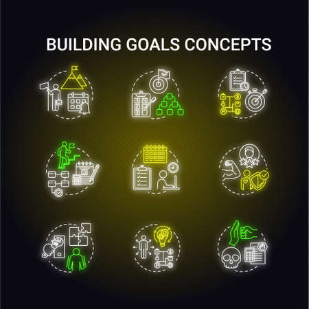 Building goals neon light concept icons set. Capitalizae on opportunity. Setting target to achieve. Improving performance. Self-development idea. Glowing vector isolated RGB color illustration