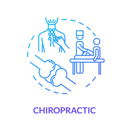Chiropractic concept icon. Complementary medicine idea thin line illustration. Musculoskeletal systems treatment. Spinal adjustment procedure. Vector isolated outline RGB color drawing Vettoriali