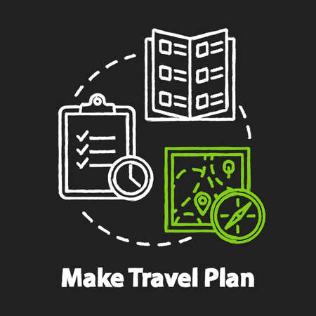 Make travel plan chalk RGB color concept icon. Organized tour, vacation organization idea. Unexpected expenses prevention. Vector isolated chalkboard illustration on black background