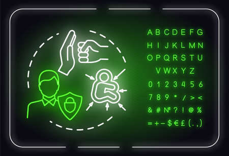 Protective strategies neon light concept icon. Smart development. Defense regulation. Self-building idea. Outer glowing sign with alphabet, numbers and symbols. Vector isolated RGB color illustration