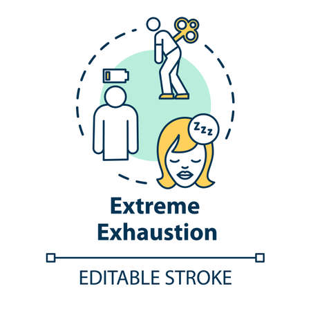 Extreme exhaustion concept icon. Overwork and burnout. Cold symptom. Chronic weakness. Fatigue idea thin line illustration. Vector isolated outline RGB color drawing. Editable stroke