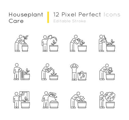 Houseplant care pixel perfect linear icons set. Repotting, fertilizing. Planting flowers. Watering. Customizable thin line contour symbols. Isolated vector outline illustrations. Editable stroke
