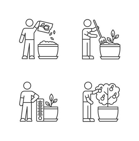 Indoor gardening process pixel perfect linear icons set. Planting. Fluffing soil. Temperature conditions. Customizable thin line contour symbols. Isolated vector outline illustrations. Editable stroke