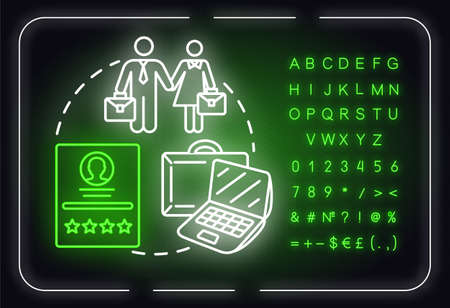 Career neon light concept icon. Professional training. Change job. Business development idea. Outer glowing sign with alphabet, numbers and symbols. Vector isolated RGB color illustration Ilustração