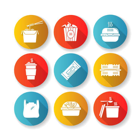 Takeout packages flat design long shadow glyph icons set. Plastic bag with handles, container with lid for salad, zip packet, hot food takeaway package. Silhouette RGB color illustrations