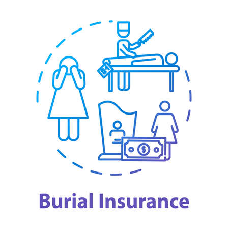 Burial insurance concept icon. Coverage for accident. Family member loss. Financial help with arrangement. Funeral expense idea thin line illustration. Vector isolated outline RGB color drawing
