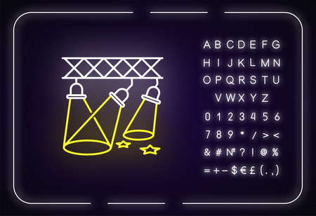 Light show neon light icon. Outer glowing effect. Sign with alphabet, numbers and symbols. Night club entertainment event, festive performance with floodlights. Vector isolated RGB color illustration