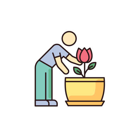 Flowering houseplant RGB color icon. Growing blooming plant. Indoor gardening. Taking care of flower. Planting process. Thriving domestic plant. Isolated vector illustration