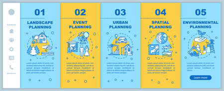 Landscape planning onboarding vector template. Engineering and architecture. International regions. Responsive mobile website with icons. Webpage walkthrough step screens. RGB color concept Vector Illustratie