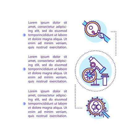 Reproductive technology concept icon with text. In vitro fertilization. Genetic engineering. PPT page vector template. Brochure, magazine, booklet design element with linear illustrations Çizim