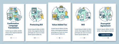 Notarization onboarding mobile app page screen with concepts. Prenuptial agreement, will. Protesting bill. Walkthrough five steps graphic instructions. UI vector template with RGB color illustrations