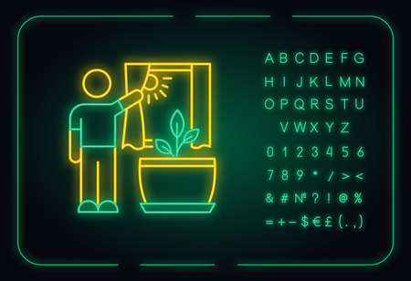 Providing sunlight for plant neon light icon. Indoor gardening. Exposing plants to natural light. Outer glowing effect. Sign with alphabet, numbers and symbols. Vector isolated RGB color illustration