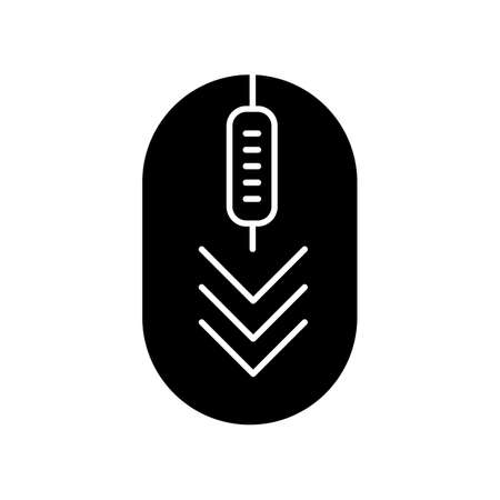 Computer mouse with down arrows black glyph icon. Scrolldown gesture indicator. PC element with three arrowheads. Website pointer. Silhouette symbol on white space. Vector isolated illustration