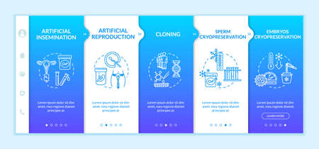 Reproductive technology onboarding vector template. Artificial insemination. Infertility treatment. Responsive mobile website with icons. Webpage walkthrough step screens. RGB color concept Çizim
