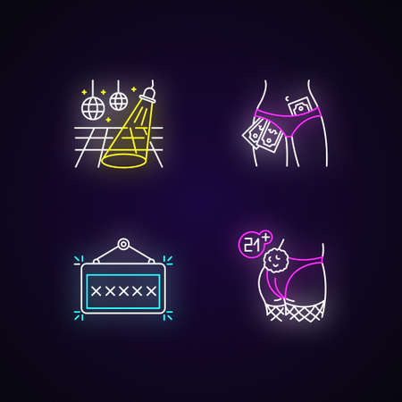 Adult club neon light icons set. Mature recreation, night club with age restriction signs with outer glowing effect. Dance floor, signboard and strippers vector isolated RGB color illustrations