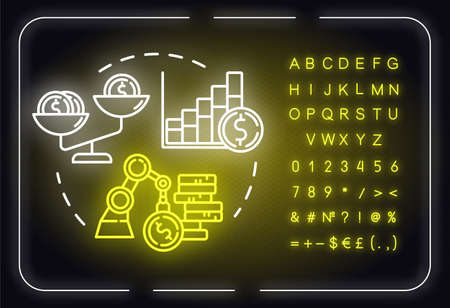 Financial strategies neon light concept icon. Income, budget. Accounting for income. Self-building idea. Outer glowing sign with alphabet, numbers and symbols. Vector isolated RGB color illustration