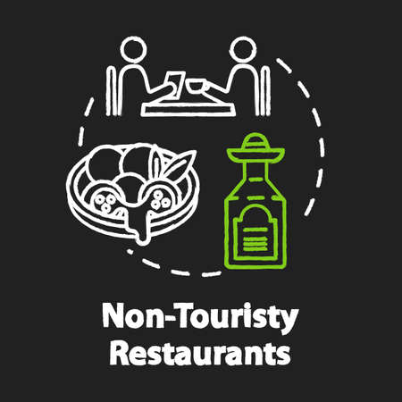 Non touristy restaurants chalk RGB color concept icon. Inexpensive lunch, affordable dinner idea. Money saving option for tourists. Vector isolated chalkboard illustration on black background