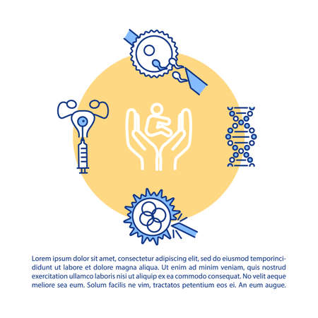 Reproductive technology concept icon with text. Embryology, genetics. Injection into ovary cell. PPT page vector template. Brochure, magazine, booklet design element with linear illustrations