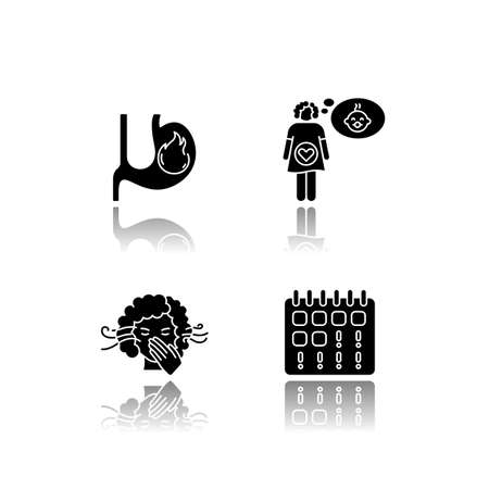 Early pregnancy symptom drop shadow black glyph icons set. Heartburn. Feeling pregnant. Smell sensitivity. Woman on period. Maternity, fertility. Isolated vector illustrations on white space