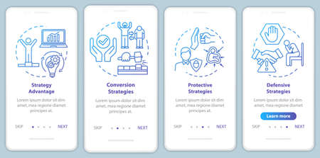 Marketing strategies onboarding mobile app page screen with concepts. Avoiding fraud. Getting deal walkthrough 4 steps graphic instructions. UI vector template with RGB color illustrations