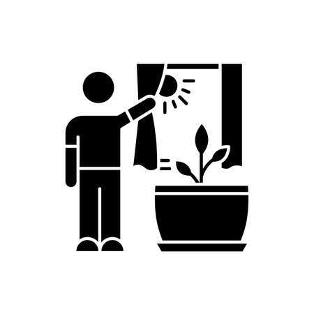 Providing sunlight for plant black glyph icon. Plant growing, planting. Indoor gardening. Exposing domestic plants to natural light. Silhouette symbol on white space. Vector isolated illustration Ilustração
